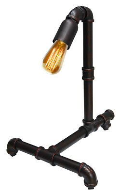 Vintage Industrial Rustic Copper Water Pipe Style Bedside Table Desk Lamp T1013