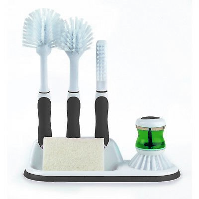Beldray 4pc Grey Kitchen Scrubbing Brush Washer Manual Cleaner Cleaning Set