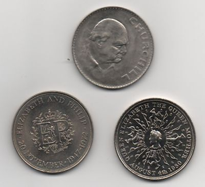 GB 1965 Churchill 1977 jubilee & 1980 Queen mother 3 crowns  uncirculated