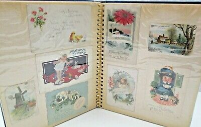 Vtg Photo Album 56 Greeting Cards Christmas Valentines Easter Paper Collection