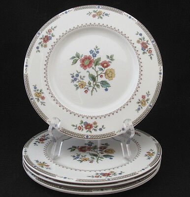 Royal Doulton Kingswood Salad Plate Red Blue Yellow Flowers Green Laurel Four