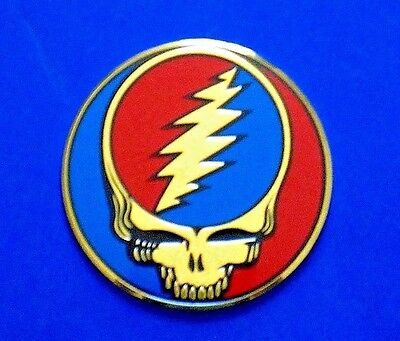 "GRATEFUL DEAD gold steal your face 1"" STICKER - VERY SMALL **FREE SHIPPING**"