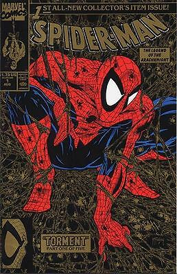 Marvel Spider-Man #1 Comic Book Todd McFarlane Gold Cover 1990 NM