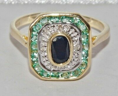 9ct Yellow Gold Ruby Sapphire & Diamond Art Deco Design Cluster Ring - size N