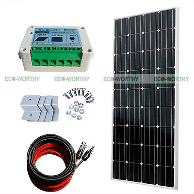 ECO COMPLETE KIT:160 W Photovoltaic PV Solar Panel 12V RV Boat for Off Grid