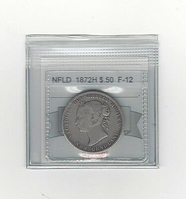 **1872H**, Coin Mart Graded, Newfoundland  Silver $.50 Cent,**F-12**