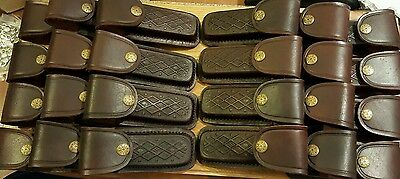 "Lot of 24 brown textured leather knife sheaths -  knives up to 5"" Hold Buck 110"
