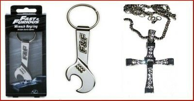 Lot Fast & Furious replique collier croix Dominic Toretto & porte clés officiel