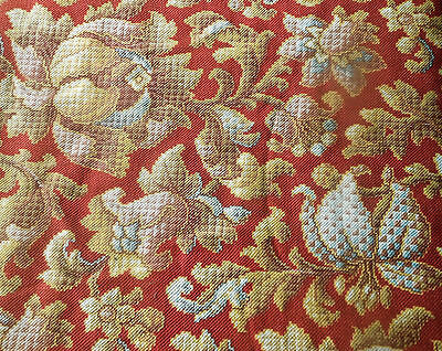 Antique  French Art Deco Botanical Floral Fabric ~ Raisin Red Blue Mustard Gold