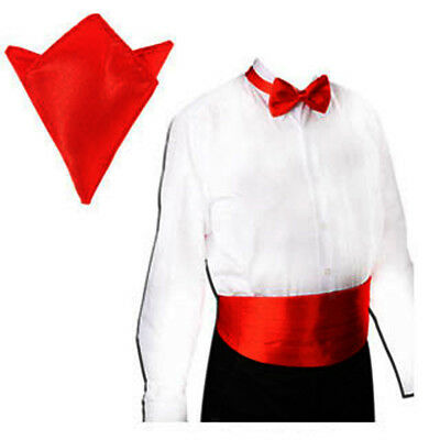 Men's Red Satin Cummerbund & Pre Tie Bowtie Hanky Tuxedo Wedding Formal Set