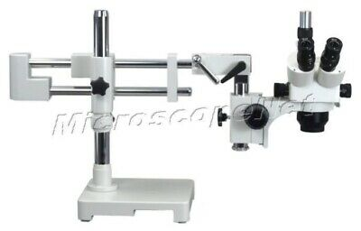 5X-80X Circuit Inspection Trinocular Dual-bar Boom Stand Stereo Zoom Microscope