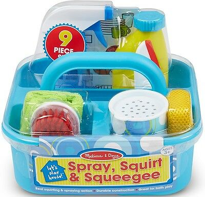 Melissa & Doug SPRAY, SQUIRT & SQUEEGIE SET Pretend Play Cleaning Caddy - BN