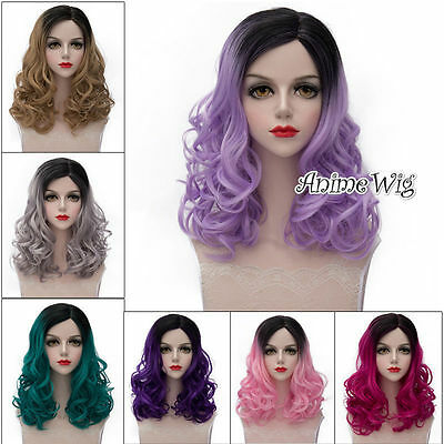 Fashion Mixed Color Medium 45CM Curly Lolita Lady Cosplay Wig + Wig Cap