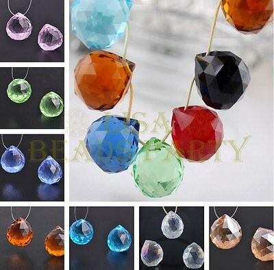 Hot 2/10pcs 22X20mm Ball Shape Faceted Crystal Glass Pendant Loose Spacer Beads