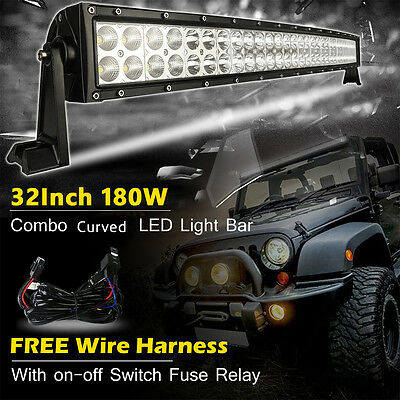 Curved 32inch 180W Flood Spot Led Work Light Bar Driving Jeep Offroad ATV UET 30