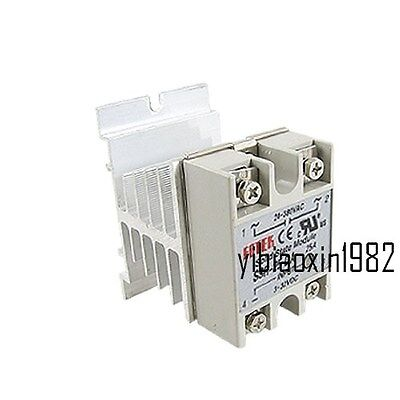 New SSR 25A Solid State Relay 3-32V DC 24-380V AC Control w Heat Sink