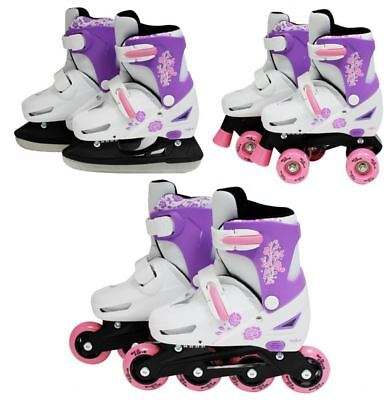 SK8 Zone Girls Pink 3in1 Adjustable Roller Blades Inline Quad Skates Ice Skating