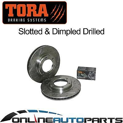 2 Drilled + Slotted Front Disc Rotors + Brake Pads Landcruiser 9/92-98 80 Series