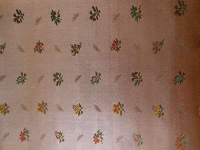 Vtg. French Apricot Silk or Silk Blend Small Scale Floral Brocade Fabric ~dolls