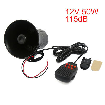 12V Loud Air Horn Siren 7 Sounds Tone Warning Alarm115 db for Car Boat Truck