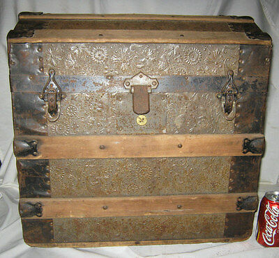 Antique Country Primitive American Wood Tin Cast Iron Storage Chest Trunk Table