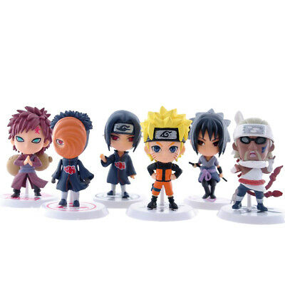 6x Japanese Anime Naruto 7cm Sasukue Itachi Gaara Obito Models Action Figure