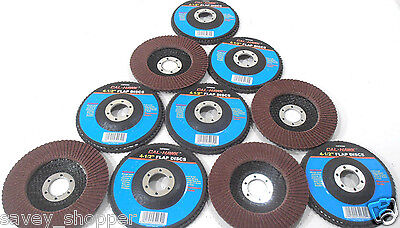"Lot Of 10 4 1/2"" Inch X 7/8"" Flap 80 Grit Wheel Disc Aluminum Oxide"