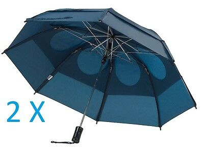 "2X! Genuine Gustbuster Metro Dual Canopy Collapsible Windproof 43"" Umbrella NAVY"