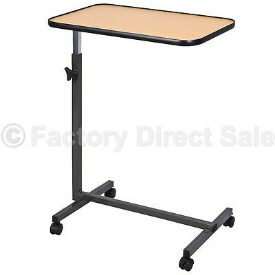 Overbed Laptop Food Tray Table Rolling Desk Hospital Over Bed W/ Tilting Top