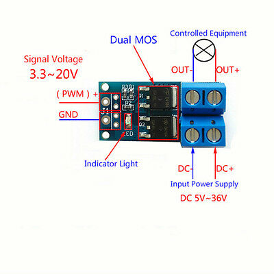 Dual MOS Tube Trigger Switch Driver Module PWM Electronic Switch Panel Board