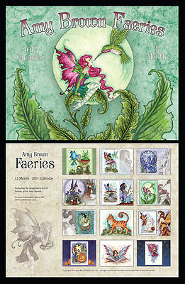 Amy Brown Fairy Mermaid Dragon Faeries 2017 Wall Calendar Brand New IN STOCK