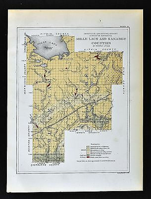 1901 Minnesota Geological Map Mille Lacs Kanabec County Millaca Mora Geology MN