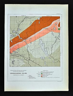 1901 Minnesota Geological Map Grand Rapids County Geology Diamond Mine Prairie R