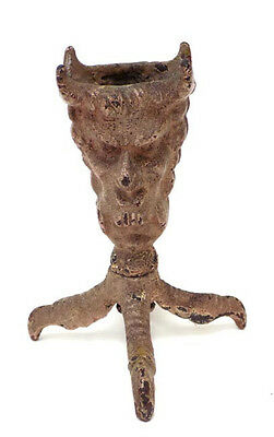 Old Cast Iron 2 Face Devil Match Holder Claw Foot