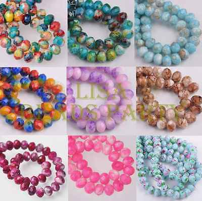 20/60pcs 8X6mm Faceted Marble Vein Rondelle Colorized Loose Glass Spacer Beads