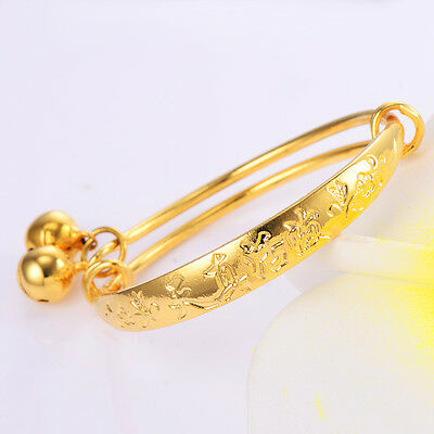 Baby child Bell bracelet toddler jewelry Yellow gold filled bangle Adjustable