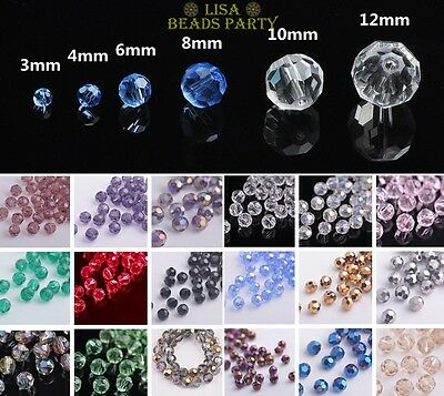 Wholesale Round 32 Facets Loose Glass Spacer Beads 3mm/4mm/6mm/8mm/10mm/12mm Lot