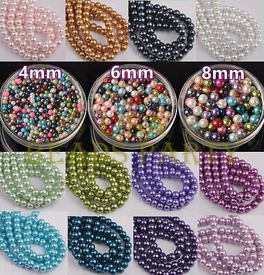 Lot Wholesale 4mm 6mm 8mm 27 Colors Round Pearl Loose Spacer Glass Beads Bulk
