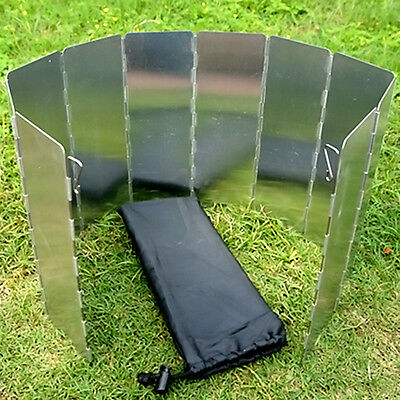 9 Plates Aluminum Foldable Camping BBQ Cookout Stove Wind Shield Screen