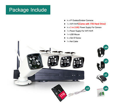 4CH CCTV NVR 960P Wireless WiFi IP Network Home Security Camera System 1T HDD