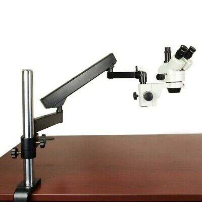 7X-45X Zoom Stereo Trinocular Microscope with Articulating Arm Metal Post Stand