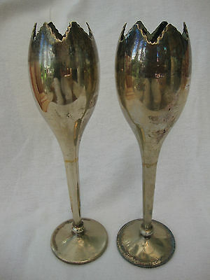 A Set Two Antique Quality Vintage H.a.m.o. Epns Table Pedestal Tall Posy Vases