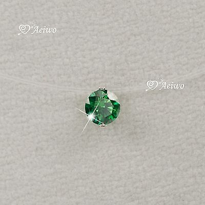 18k white gold brilliance cut green Zirconia invisible necklace 6mm