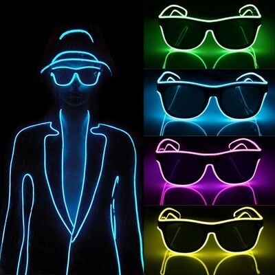 El Wire Neon LED Sound Control Light Up Glow Sunglasses Glasses Rave Club Party