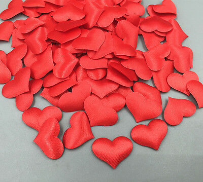 100pcs Red satin hearts applique weddings decoration Scrapbooking Sewing 20mm