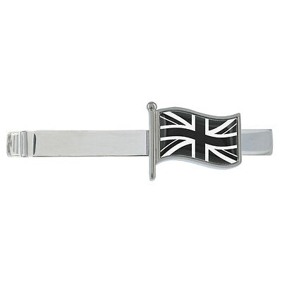 Brazil Wavy Flag Rhodium Plated Tie Clip in Gift Box
