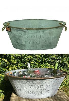 e2e Retro Galvanized Cold Drinks Party Champagne Wine Beer Cool Ice Bucket Bowl