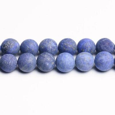 Strand Of 38+ Blue Lapis Lazuli 10mm Frosted Round Beads CB31196-4