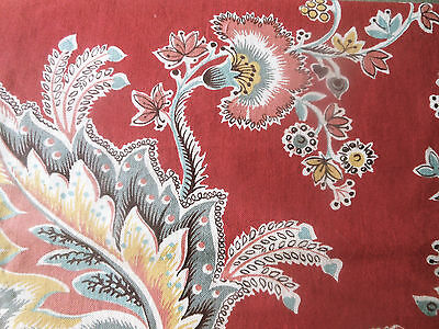 Vintage Retro French  Jacobean Floral Cotton Fabric ~ Burgundy Gray Gold 1970's