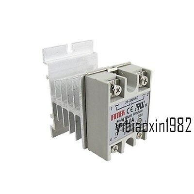 New Solid State Relay SSR-50DA 50A DC3-32V 24-380V AC & Heat Sink